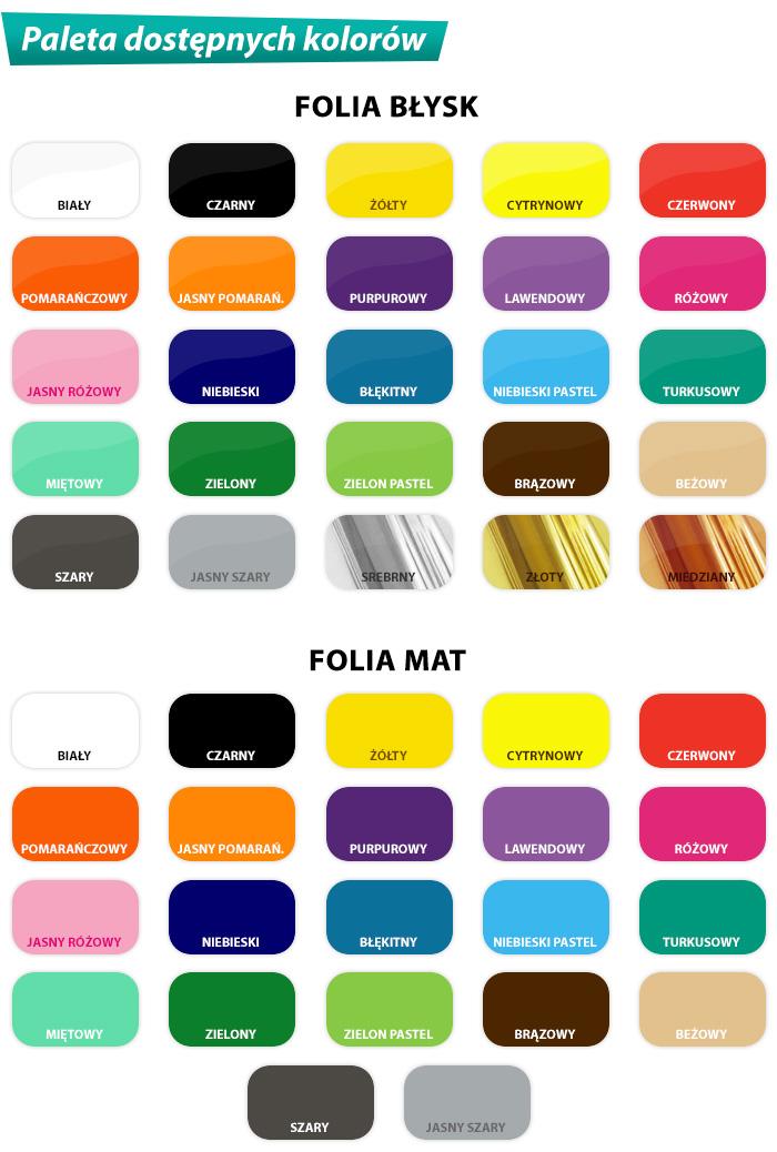 Paleta dostępnych kolorów